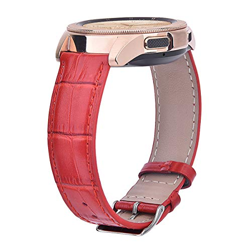 CAGOS for Galaxy Watch (42mm)/ Galaxy Watch Active Bands, Genuine Cowhide Leather Watch Interchangeable Strap Bracelet Replacement for for Galaxy Watch 42mm/Gear Sport/Ticwatch E Smartwatch (Red)