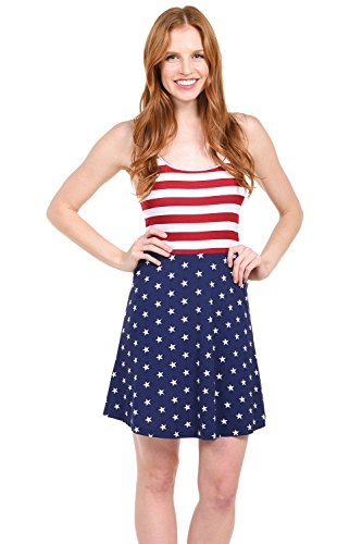 Tipsy Elves Womens Patriotic American Flag Dress - USA Red, White and Blue Dress