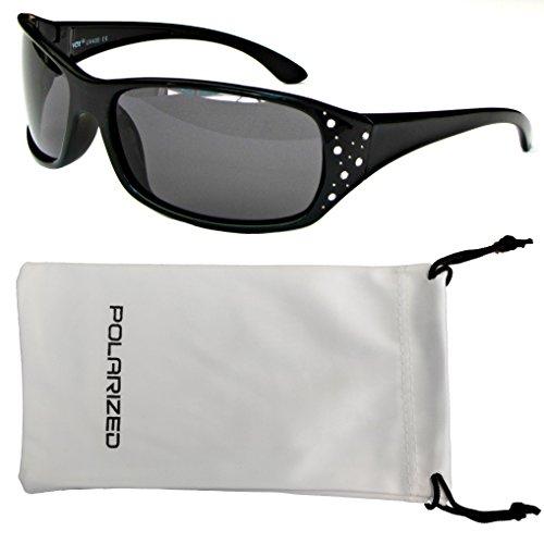 Vox Women's Polarized Sunglasses Designer Sport Fashion Rhinestones Free Microfiber Pouch – Black Frame - Smoke - Sunglasses Vox