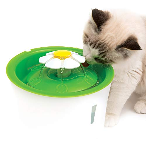 (Catit Flower Fountain: 3L Cat Water Fountain with Triple-Action Filter)