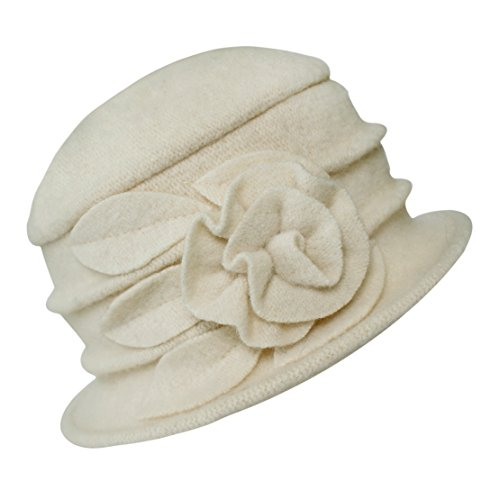 Urban CoCo Women's Floral Trimmed Wool Blend Cloche Winter Hat (White-Model A) -