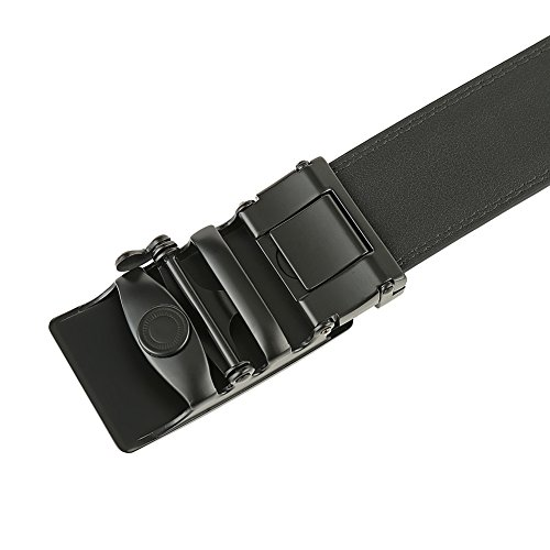Men's Solid Buckle with Automatic Ratchet Leather Belt 35mm Wide by Guravio (Image #4)