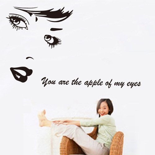 ORDERIN Christmas Gift Wall Stickers Beautiful Woman Face Marilyn Monroe You are the Apple of my Eyes Wall Decal for Wall and Home Decor - Marilyn Monroe Face