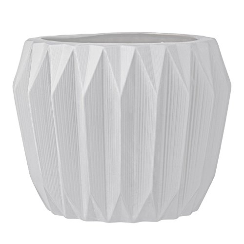 Bloomingville Round Ceramic Fluted Flower Pot, Large, White