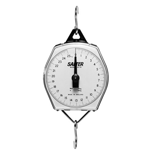 Brecknell MSKN12708010000 Brecknell 235-6S Hanging Scale, 110 lb x 8 oz Capacity, ABS Plastic Housing with Shatterproof Dial Cover, Includes Hooks, Cubic_inches, Degree C, ABS, Metal,