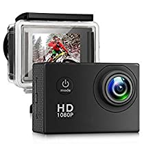 TenTenCo Action Camera Ultra HD 13MP Waterproof Sports Camera, 100 Degree Wide Angle Lens, 2 Inch LCD Screen, 98ft Underwater DV Camcorder with Outdoor Accessories (Black)