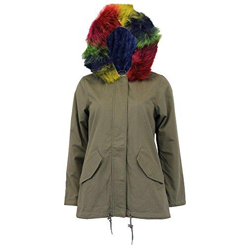 Hooded Parka Fur Soul Multicolour Lined Jacket Winter PANTHERRAI Sherpa Fleece Ladies New Coat Khaki Brave AHSwq4w