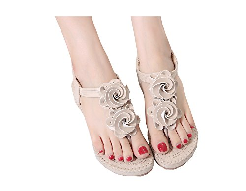 Flowers Shoes Styles Bohemia apricot Women's Colorfulworld Sandal Flops of flip nYq80I