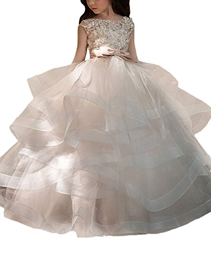 Portsvy Cap Sleeves Girls First Communion Ball Gown Lace Wedding Flower Girl Dresses -
