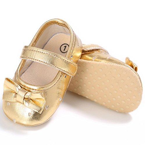 Primeros zapatos para caminar,Auxma Zapatos de cuero de la PU del Bowknot de la niña,Zapatillas antideslizantes suaves Sole Toddler primavera otoño zapatos Or