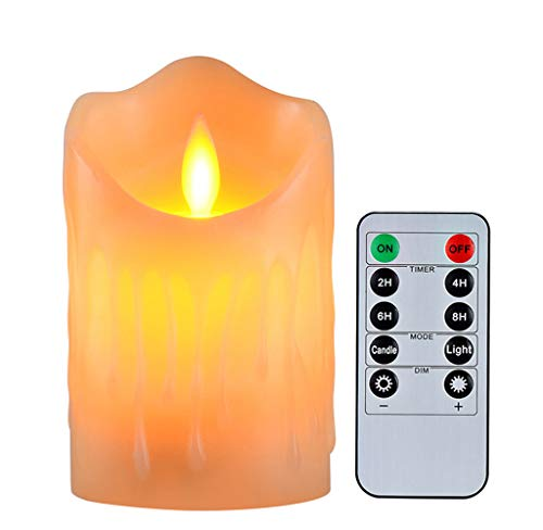 (Flameless Candles with 10 Key Remote Timer Flickering Tear Wave Shaped Tealight Real Wax Simulate Dripping Led Candles Battery Operated Safe For Indoor Outdoor Decor 3 x 4)