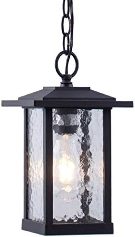 Smeike Outdoor Pendant Lighting, 1-Light Outdoor Hanging Lantern, Farmhouse Style Exterior Porch Lights in Matte Black Finish with Water Glass, 60W