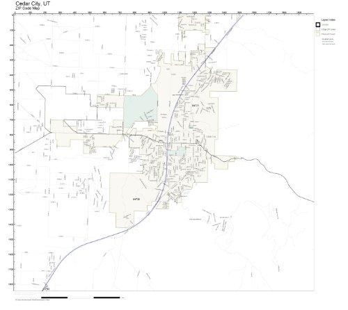 Amazon.com: ZIP Code Wall Map of Cedar City, UT ZIP Code Map Not