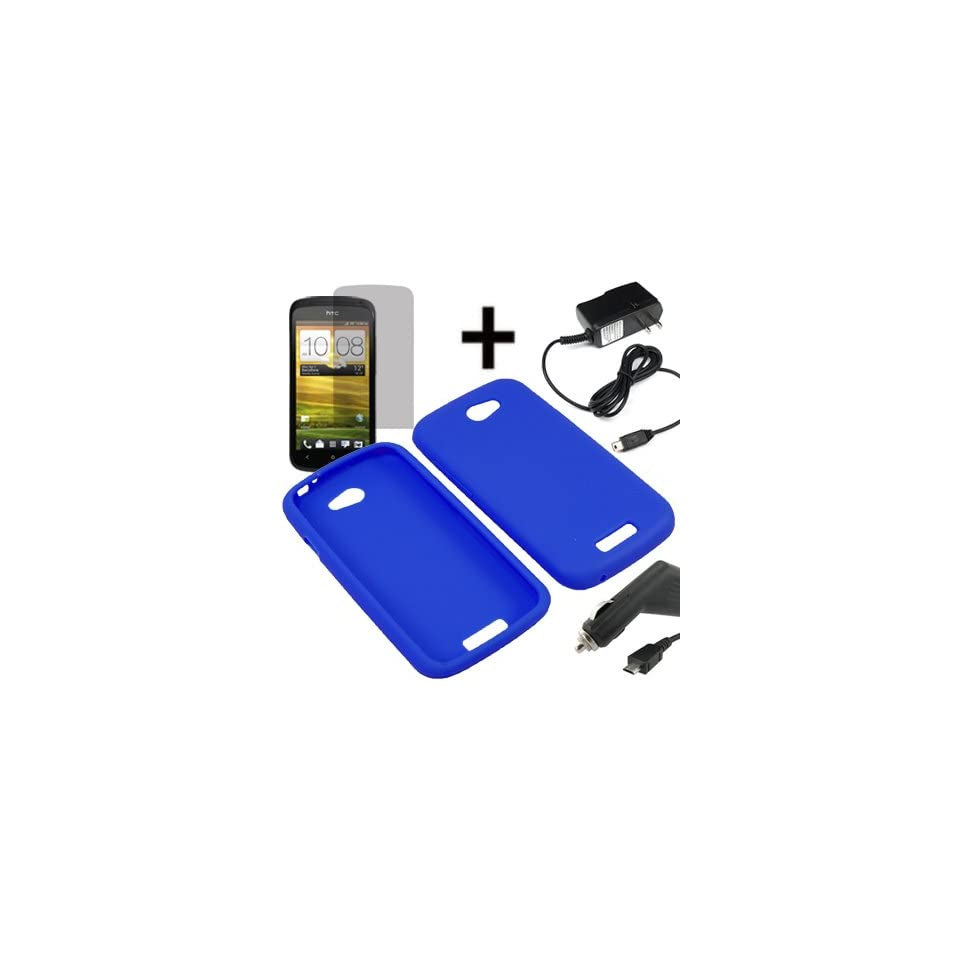 Eagle Soft Silicone Sleeve Gel Cover Skin Case for T Mobile HTC One S + LCD + Car + Home Charger  Blue