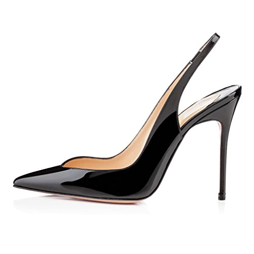 Brillant À Aiguille Edefs Escarpins Noir Ouvertes L'arrière Slingback Chaussure Talon Femme pxxEa8qwB