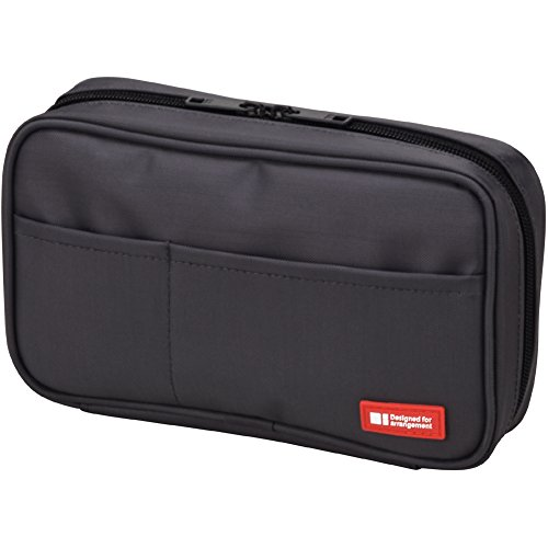 LIHIT LAB Pen Case, 7.9 x 2 x 4.7 inches, Black (Five Pen Case)