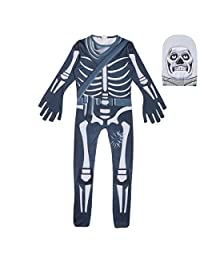 Thombase Kids Onesie Fortnite Mask Cosplay Costumes Party Gamer Halloween Bodysuits