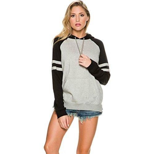 Blackobe Women Splicing Hooded T-shirt Long Sleeve Casual Pullover Blouse Tops Shirt (XL, Gray)