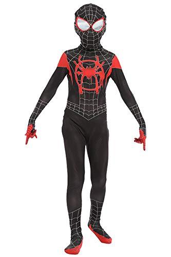 Kids Spider-Verse Miles Morales Zentai Cosplay Costume Jumpsuit (M, Black) -