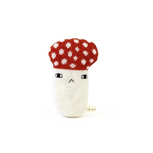 Baby Rattle - Mushroom, soft knitted newborn toy by Colette Bream