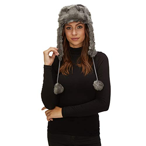 - Miramar Womens Aviator Style Fur-Like Winter Hat with Earflaps 10906 Gray