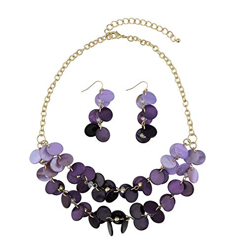 Bocar 2 Layer Statement Choker Shell Necklace and Earring Set for Women Gift (NK-10248-purple)