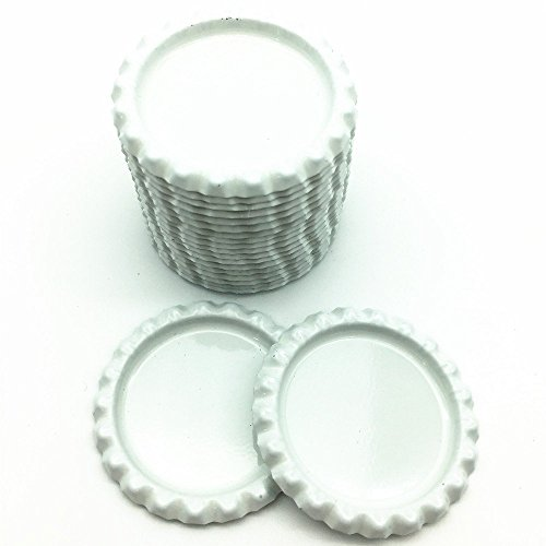 IGOGO 200 PCS White Bottle Caps Decorative Bottle Cap for Hair Bows DIY Pendants or Craft - Bow Cap Bottle