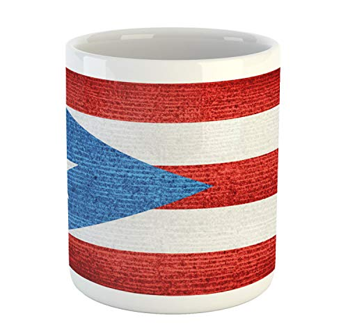 Lunarable Puerto Rico Mug, Stripe Style Rows Pattern Grunge Arrangement with Patriot Flag, Printed Ceramic Coffee Mug Water Tea Drinks Cup, Blue Vermilion and White