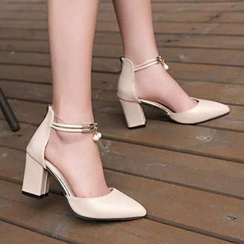 Carré De Pendentif Perles À Haut Blanc Or Pointue Fantaisiez Escarpin Sandales Femme Printemps Talon Décontracté Mode Épais Chaussures Automne Or vgAzqY
