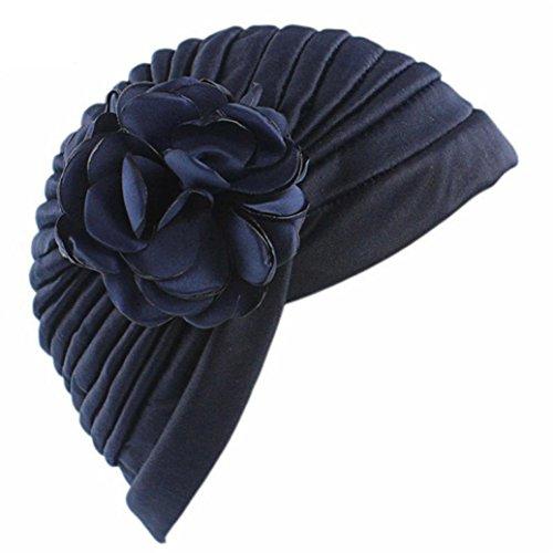 QingFan Women Muslim Solid Flowers Cancer Chemo Hat Fashion Indian Stretch Turban Headbands Hair Loss Wrap cap - Cap Cancer Month Womens
