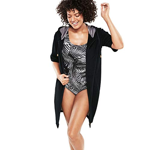 (Swimsuits For All Women's Plus Size Hooded Terry Swim Cover Up - Black, 30/32)