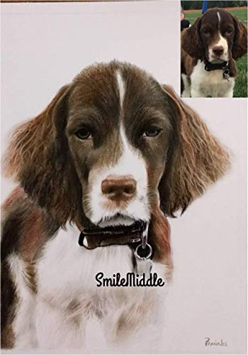 (SmileMiddle Handmade Pet Portrait Pencil Color Sketch,Photo to Sketch,Custom Portrait | Gifts for Wedding,Birthday,Anniversary,Valentine's Day,Girlfriend,Boyfriend)