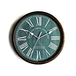Aylesford Roman Vintage Wall Clock, Metal-Simulated Rustic Bronze, Quite Non-Ticking Silent Sweep Quartz Movement, Retro Antique Style, 12.6 inch. in Diameter, Plastic Frame, ABS Glass Front.