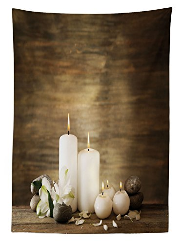 Ambesonne Spa Outdoor Tablecloth, Composition of Pure Candles Wooden Background with Stones and Flower Petals Print, Decorative Washable Picnic Table Cloth, 58 X 84 inches, Brown and White by Ambesonne (Image #1)