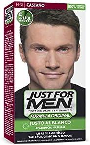 Just For Men Tinte Colorante en Shampoo, 100% Cobertura de Canas, Aparencia Natural, Color Castaño (H-35), 66