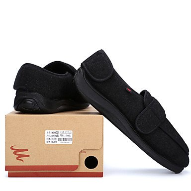 Sandalias de verano zapatos de hombre para pacientes con diabetes mellitus o edema pedal / vellón de lana y suela de goma espuma superior es cómodo Negro