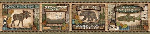 Chesapeake TLL01561B Tugaloo Bear Paw Lodge Wallpaper Border, Green
