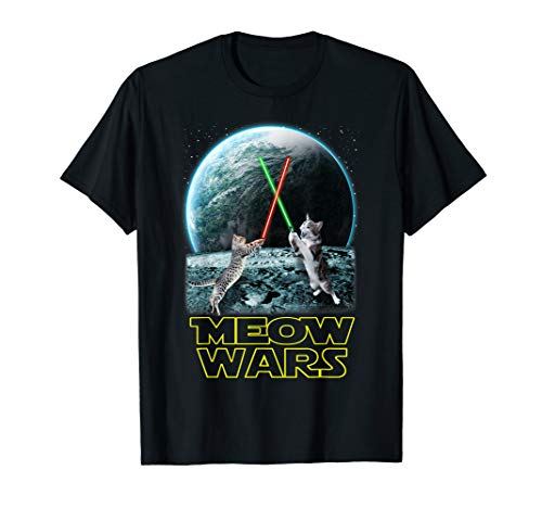 Meow Wars Cat Shirt Funny Gifts For Cats Lovers T-Shirt T-Shirt