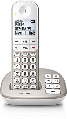 Philips XL4951S/38 schnurloses Telefon mit Anrufbeantworter (4,8 cm (1,9 Zoll) Display, HQ-Sound, Mobilteil mit Freisprecheinrichtung) silber