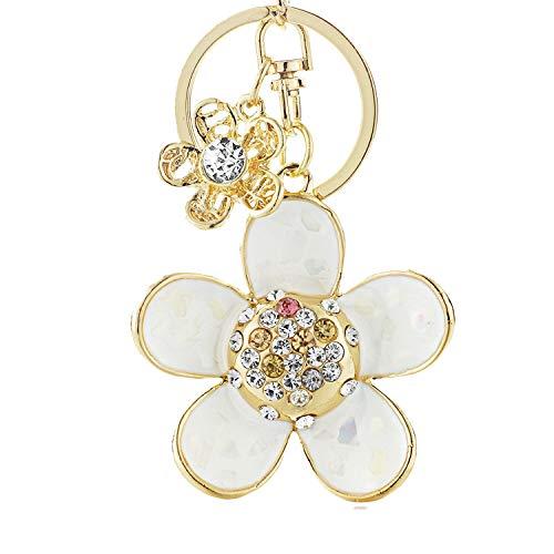 Daisy Double Flower Floral Crystal Rhinestone Keyrings Key Chains Holder Women Keychains K245