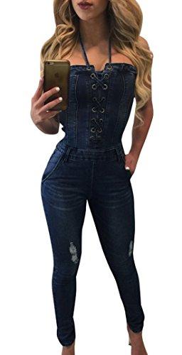 Scuro Senza Tutine Playsuit Blu E Monopezzi Pantaloni Bodysuits Skinny Rompers Sexy Maniche Donna 6w7qIT