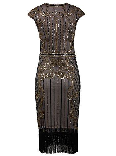 Vintage Vijiv Dorado la Inspirado franja embellecido larga Gatsby 1920 mujer Vestido Champagne lentejuelas ggER6