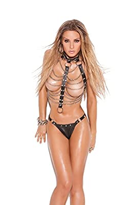 Leather And Chain Vest With Rings And Matching Thong With Nail Heads And Rings