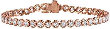 2 carat certified lab grown diamond tennis bracelet for women 7.5 inches (GH,SI)14k rose gold diamond bracelet for her