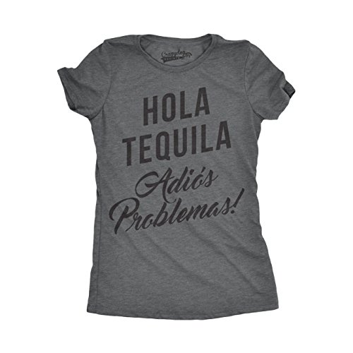 Womens Hola Tequila Adios Problemas Funny Shirts Hilarious Vintage Novelty T Shirt (Dark Heather Grey) - -