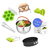Instant Pot Accessories Set 8 Pcs Compatible with Instant Pot 5 6 8QT Include Steamer Basket, Springform Pan, Egg Steamer Rack Set, Egg Bites Mold, Tong, Plate Gripper, Silicone Gloves