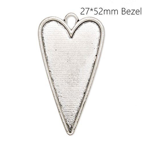 (Pendant Trays with 2752mm Heart Shaped Blank Bezels, 20pcs/lot (Antique Silver))