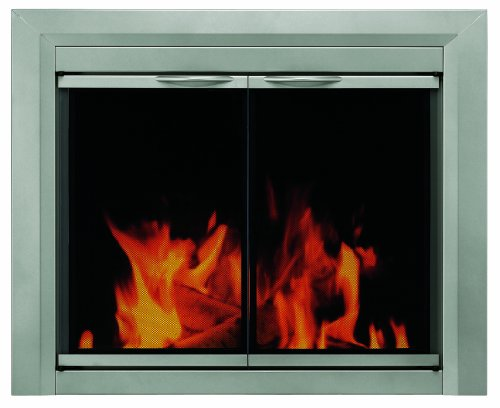 Pleasant Hearth CB-3301 Colby Fireplace Glass Door, Sunlight Nickel, Medium (Glass Fireplace Doors With Screen compare prices)