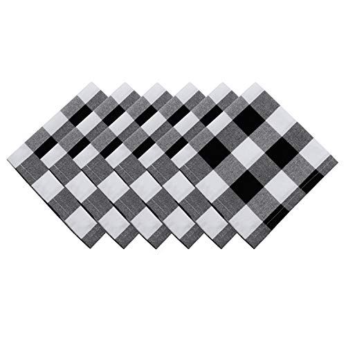 famibay Pack of 6 Cotton Checker Napkins Buffalo Plaid Cotton Table Napkins for Tables Family Dinners, Outdoor Parties, Washable Napkin Set 20 x 20 Inch Black/White ()