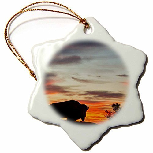 Funny Christmas Snowflake Ornaments Bison Silhouetted Against Sunset Theodore Roosevelt Np North Dakota Holiday Xmas Tree Hanging Ornaments Decoration ()
